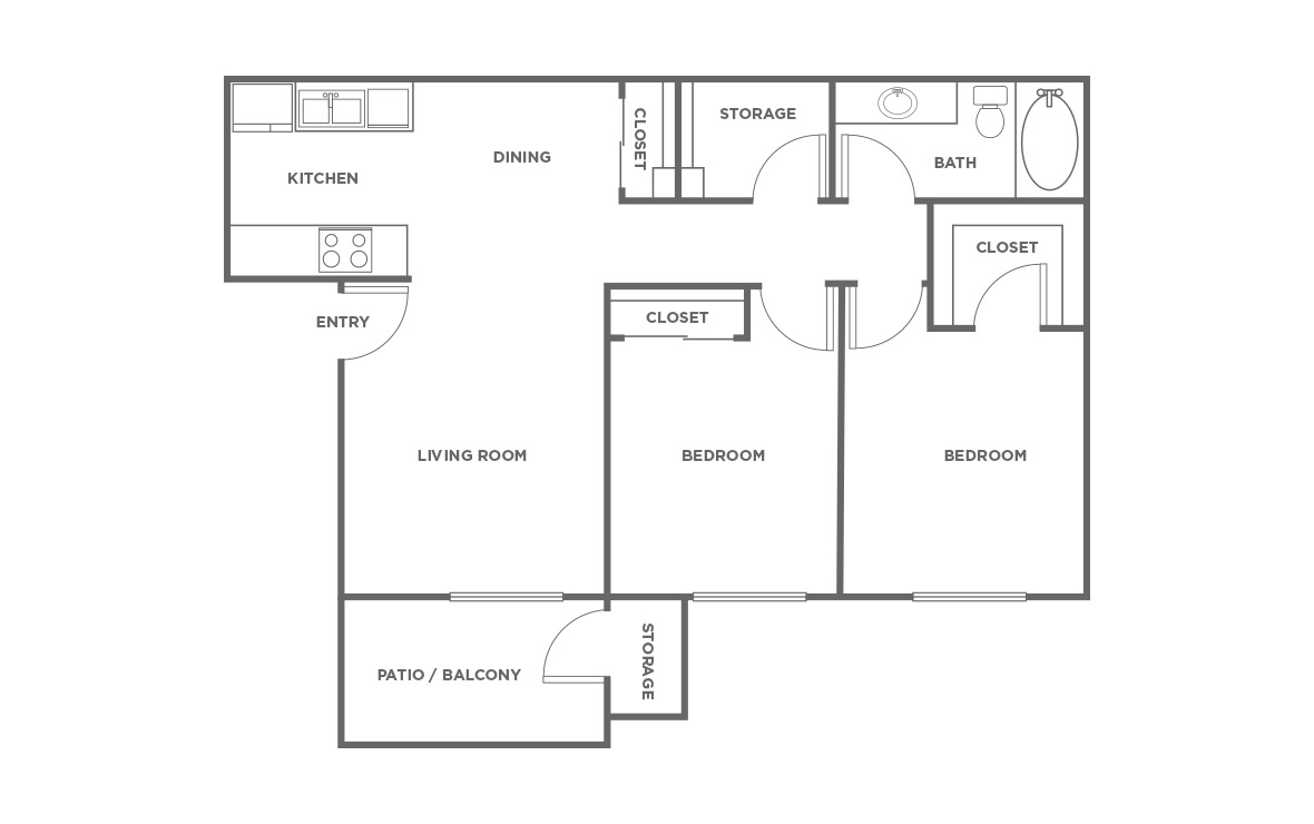 The Cypress - 2 bedroom floorplan layout with 1 bath and 808 square feet (1st floor 2D)