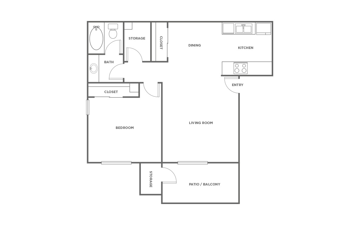 The Spruce - 1 bedroom floorplan layout with 1 bath and 623 square feet (1st floor 2D)